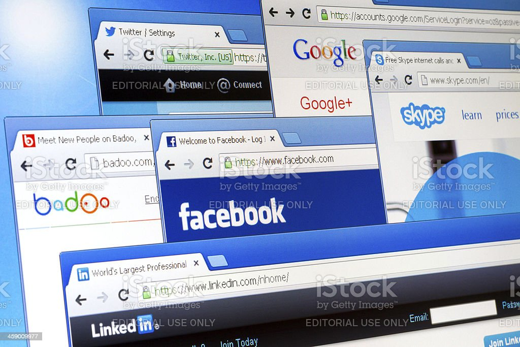 Social network web pages on display. stock photo