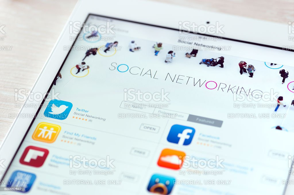 Social networking apps on Apple iPad Air royalty-free stock photo