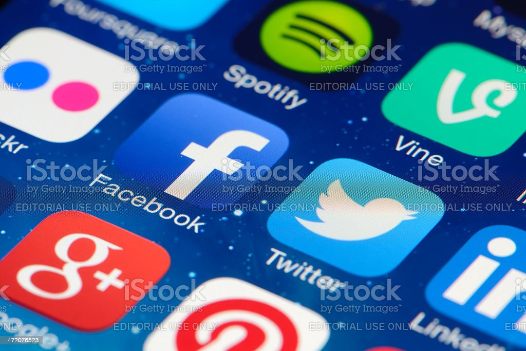Social networking apps on iPhone screen royalty-free stock photo