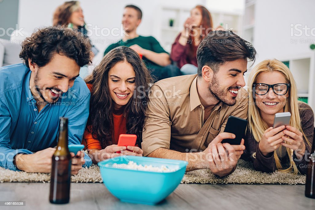 Social networking at home stock photo