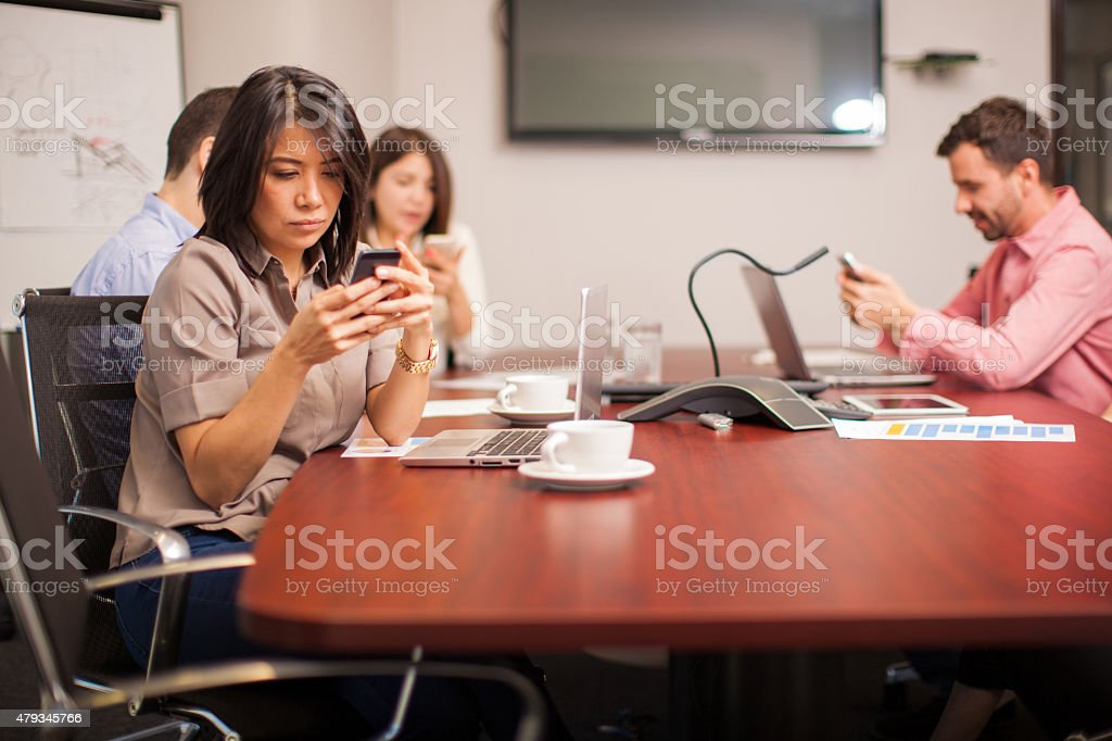 Social networking at work stock photo