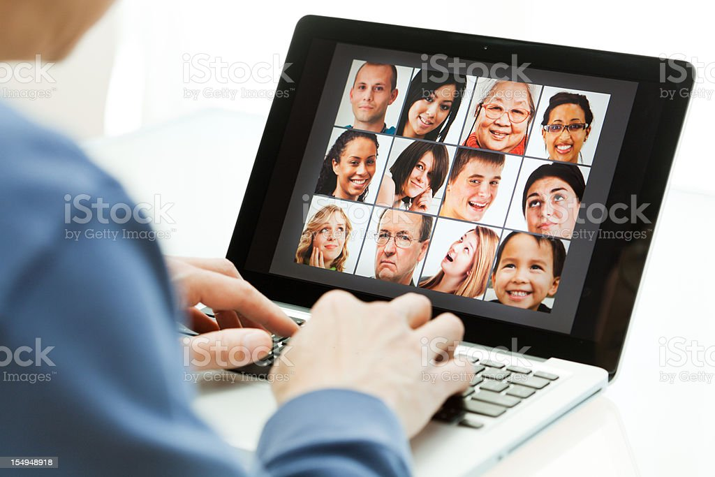 Social Networking Communication with Internet on Laptop Computer royalty-free stock photo