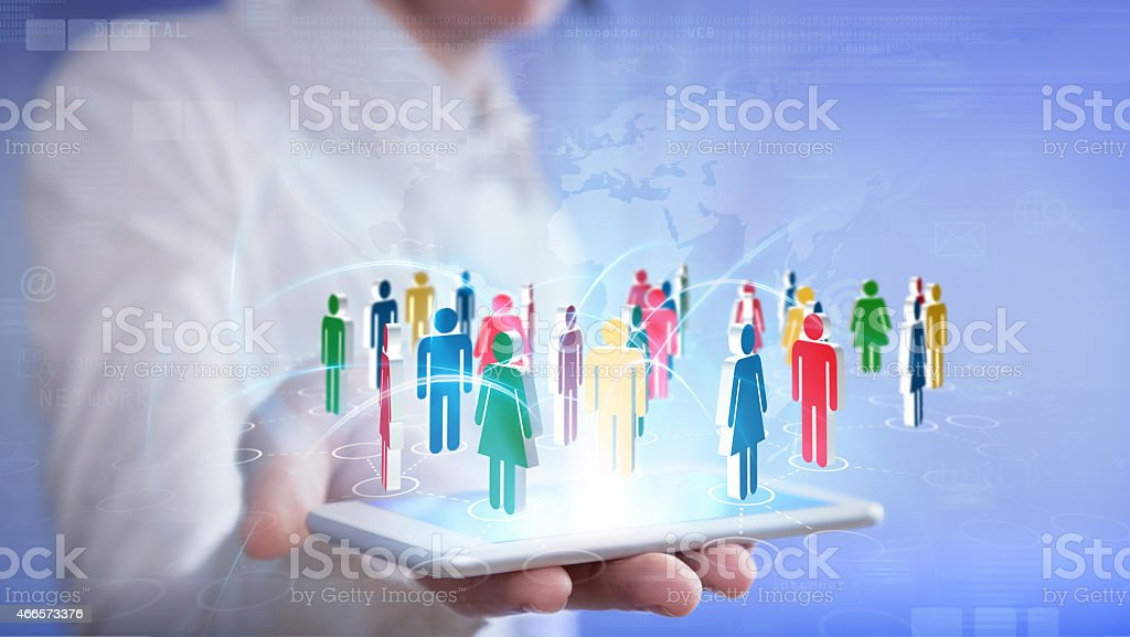 social networking with smartphone stock photo