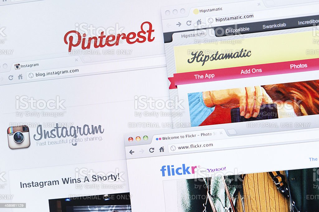 Social photo sharing stock photo