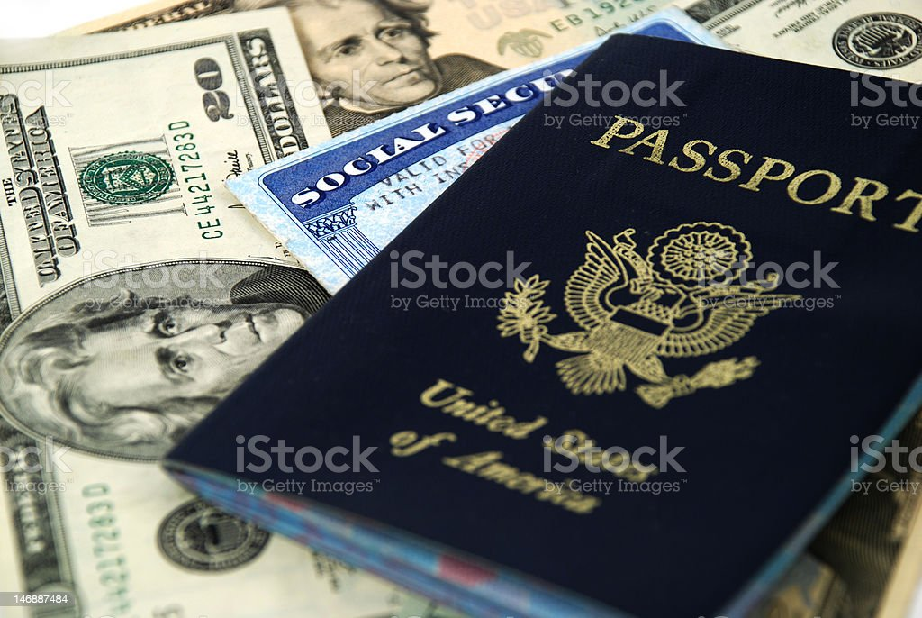social security and passport royalty-free stock photo