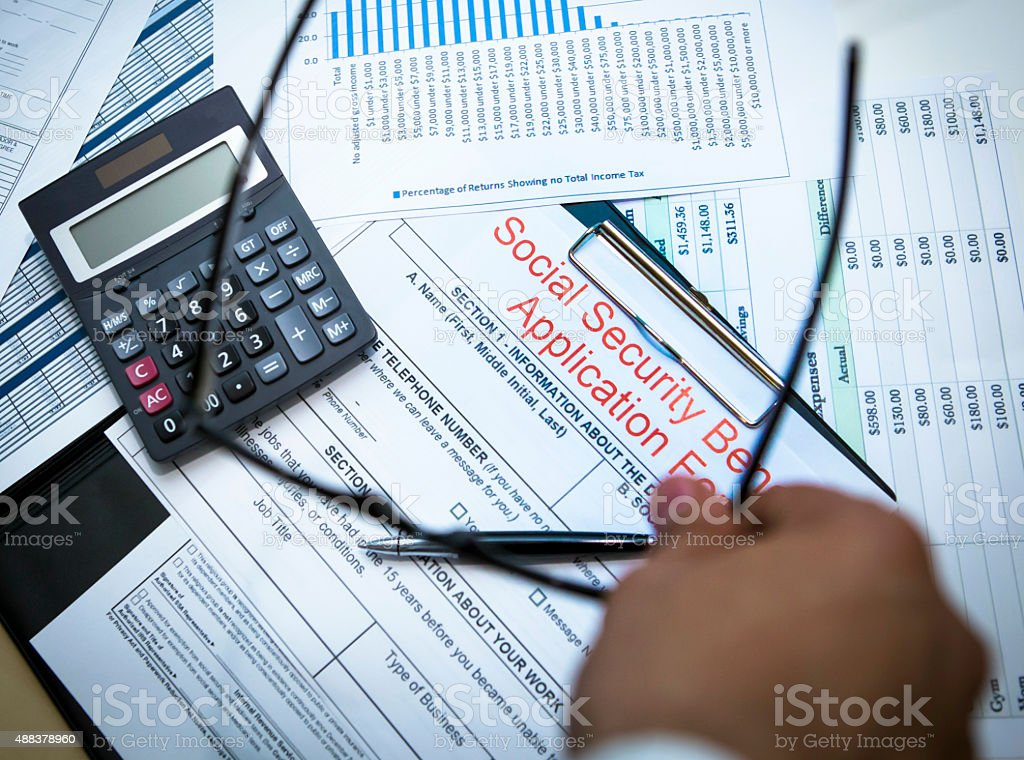 Social Security Benefits Application Form stock photo