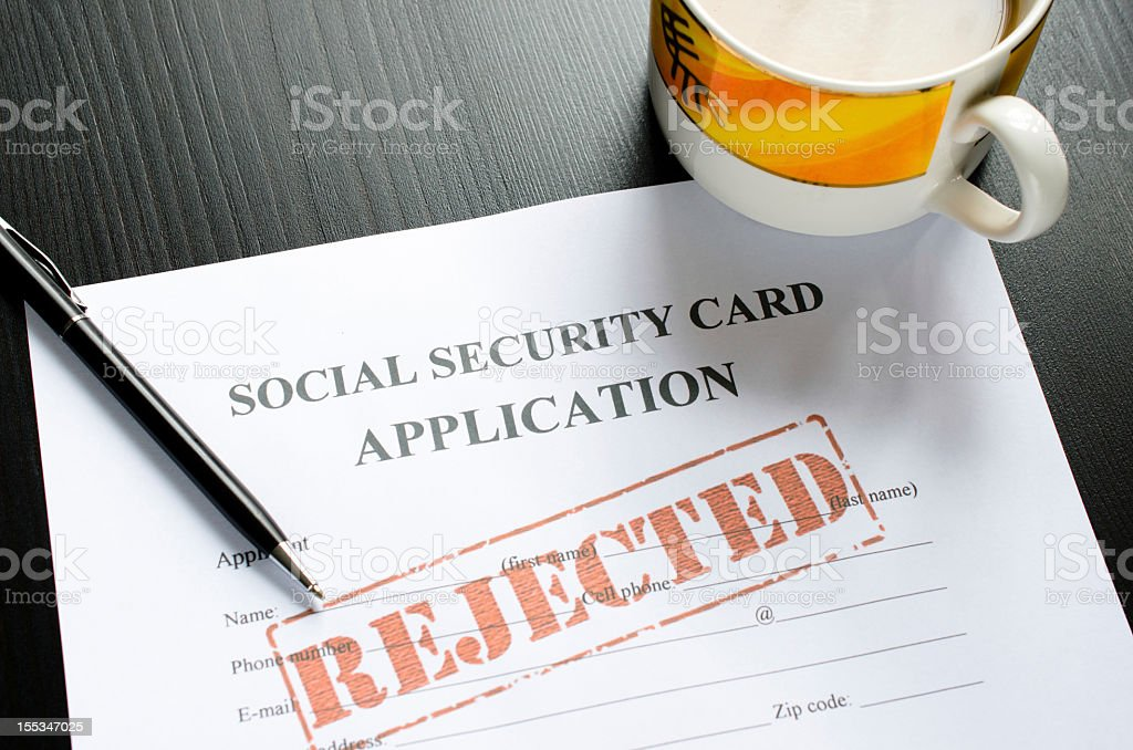 social security card application - rejected royalty-free stock photo
