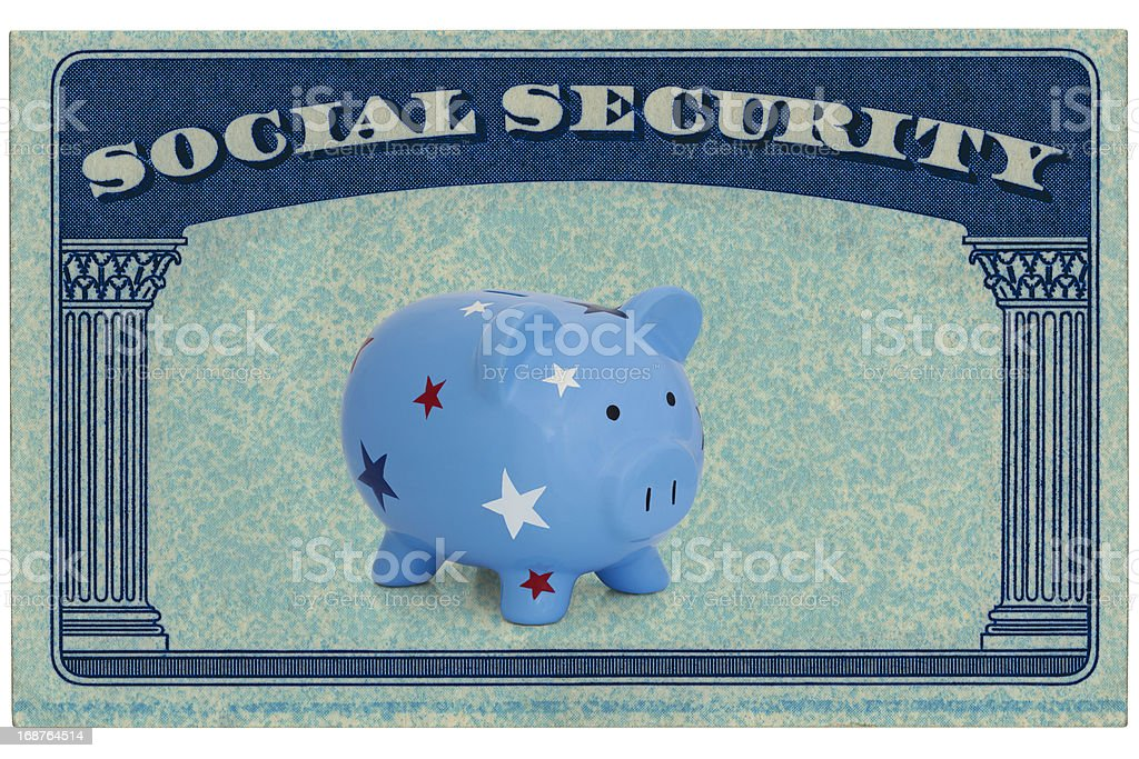 Social Security Card Framing A Piggy Bank royalty-free stock photo