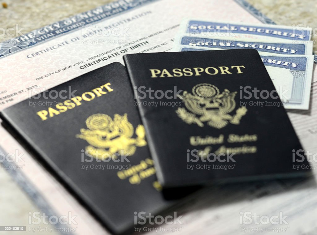 Social Security cards and Passports stock photo