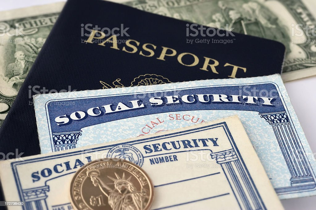 Social Security Cards & Passport royalty-free stock photo
