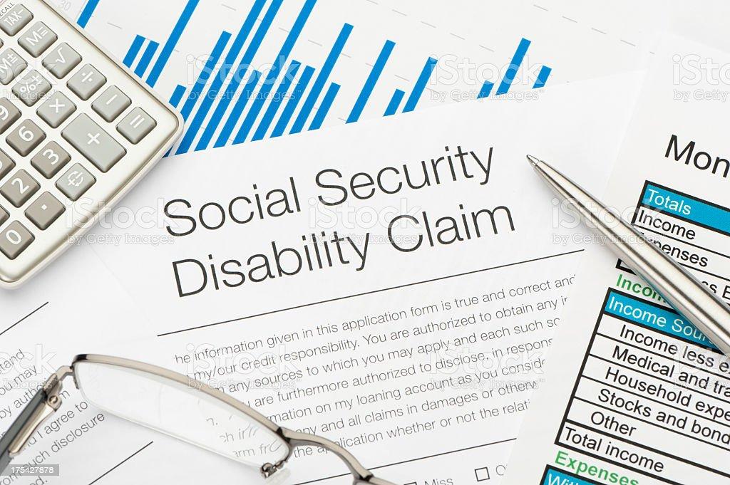 Social Security Disability Claim Form stock photo