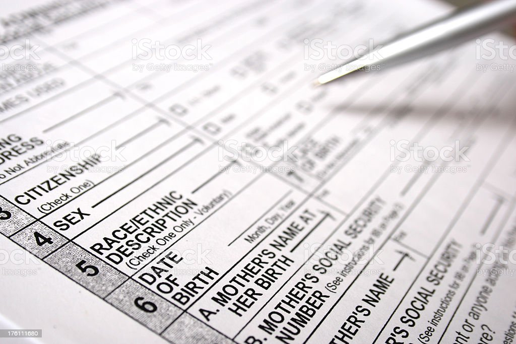 Social Security Form With Focus On Race And Ethnicity Stock Photo