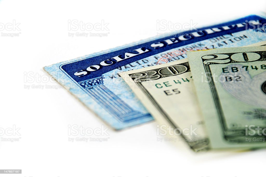 Social security identification and twenty dollar bills stock photo