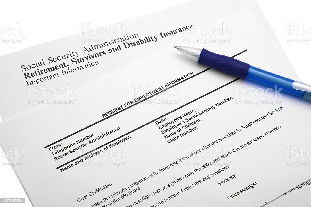Social Security Information Request royalty-free stock photo
