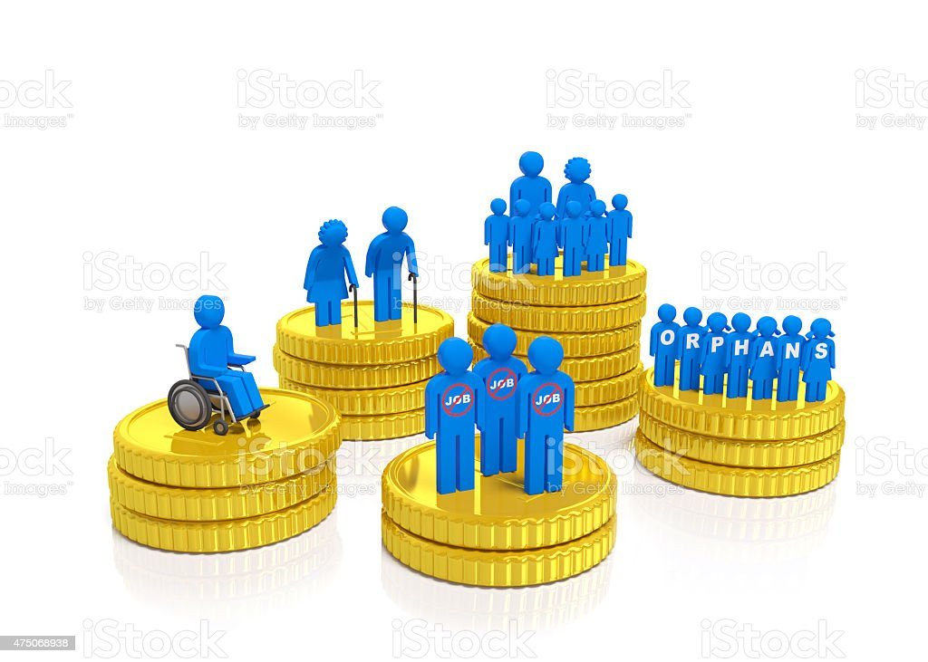 Social security, social policy and disadvantaged population (concept) stock photo