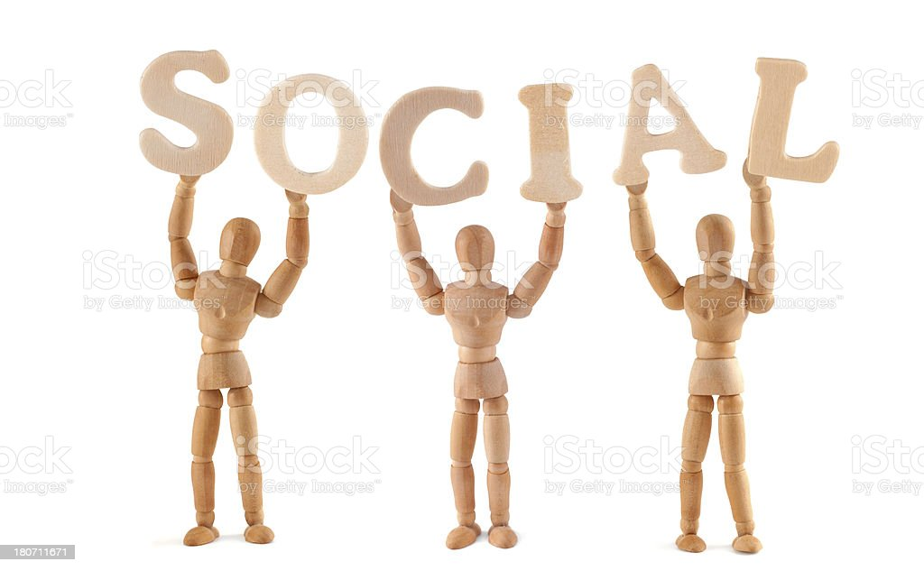 Social - wooden mannequin holding this word stock photo