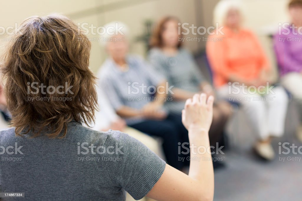 Social worker in the community center stock photo