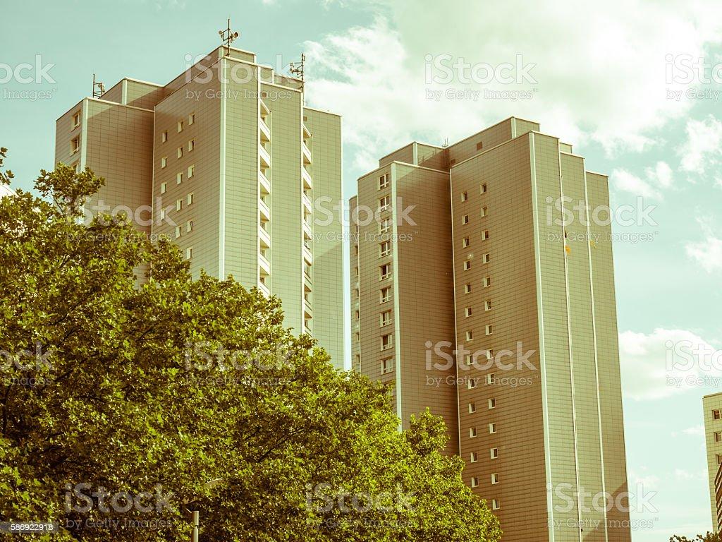 socialist era concrete plate apartment block stock photo