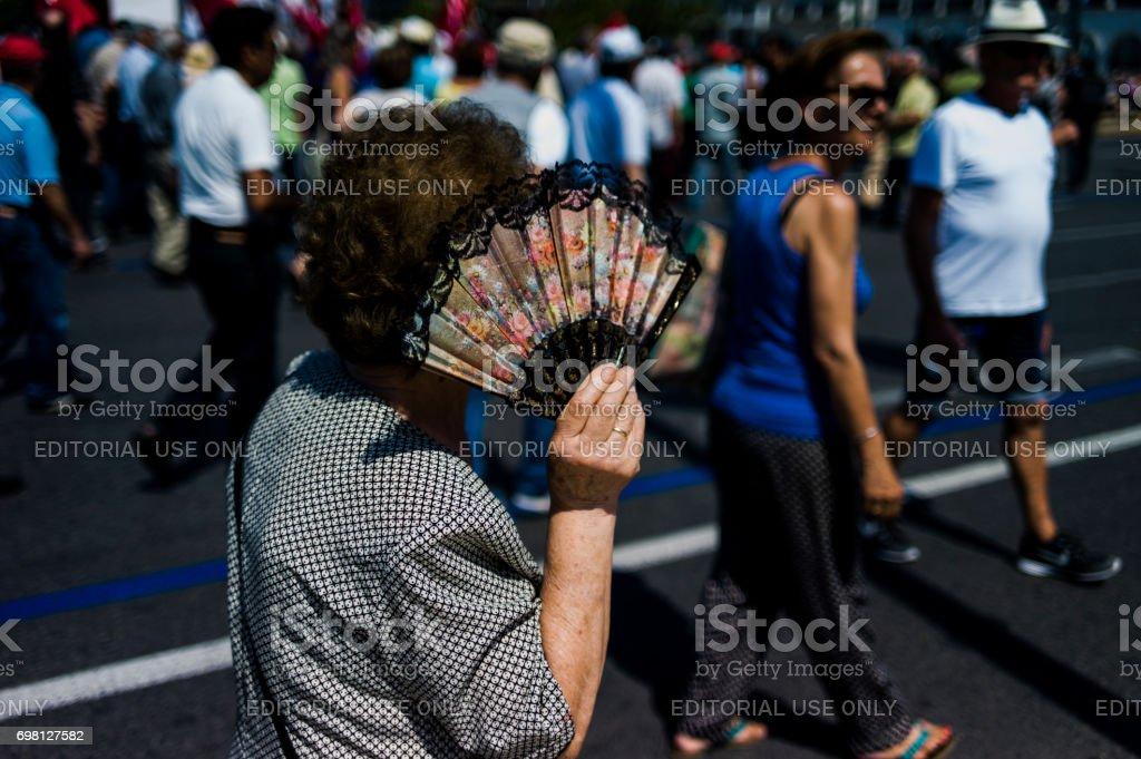 Socialist Protestors front of Hellenic Parliament Building, Greece stock photo
