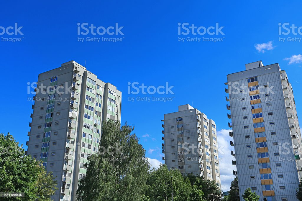 Socialistic skyscrapers stock photo