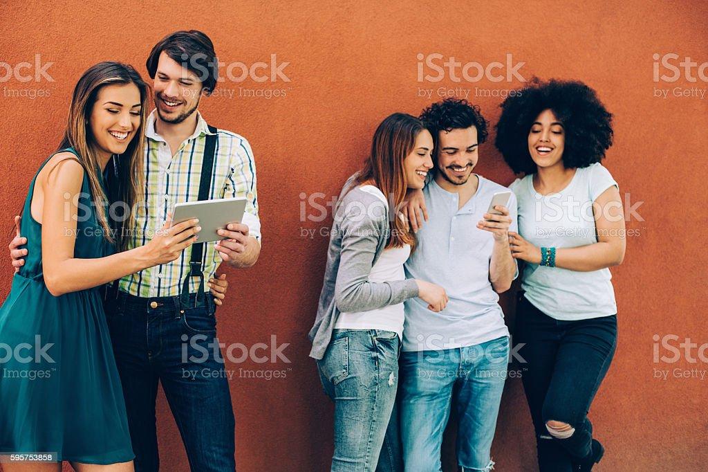 Socializing and technology stock photo
