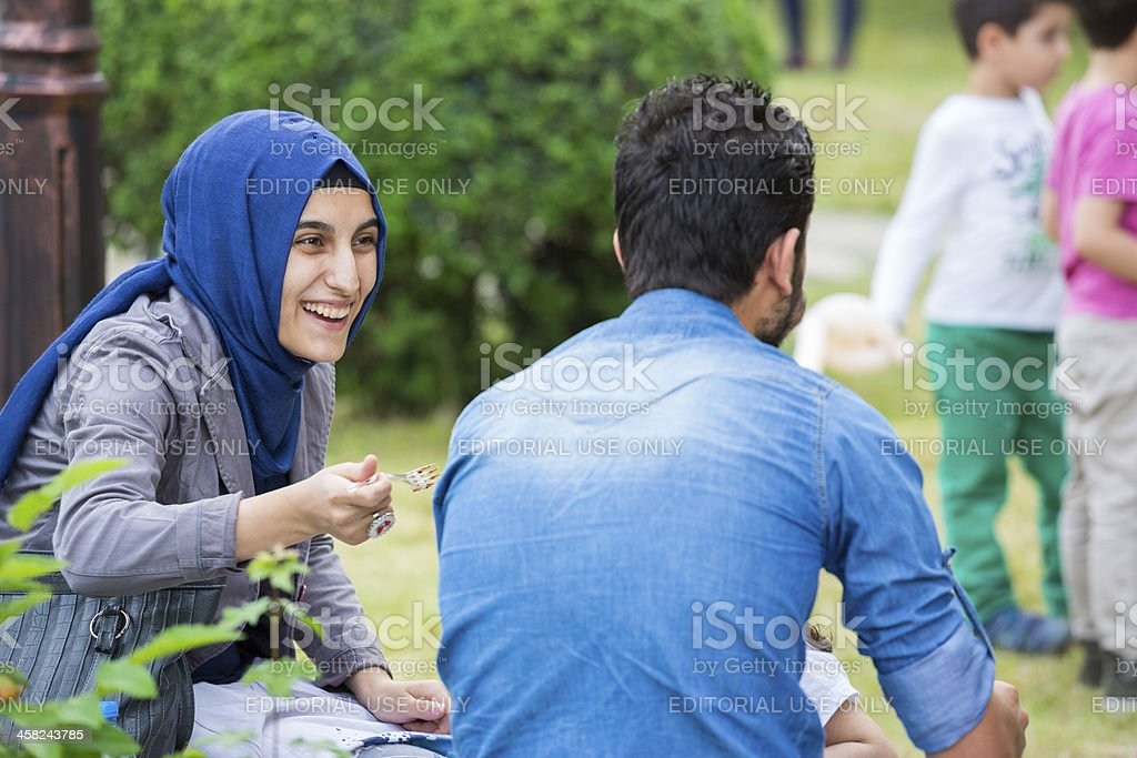Socializing at Turkish festival stock photo