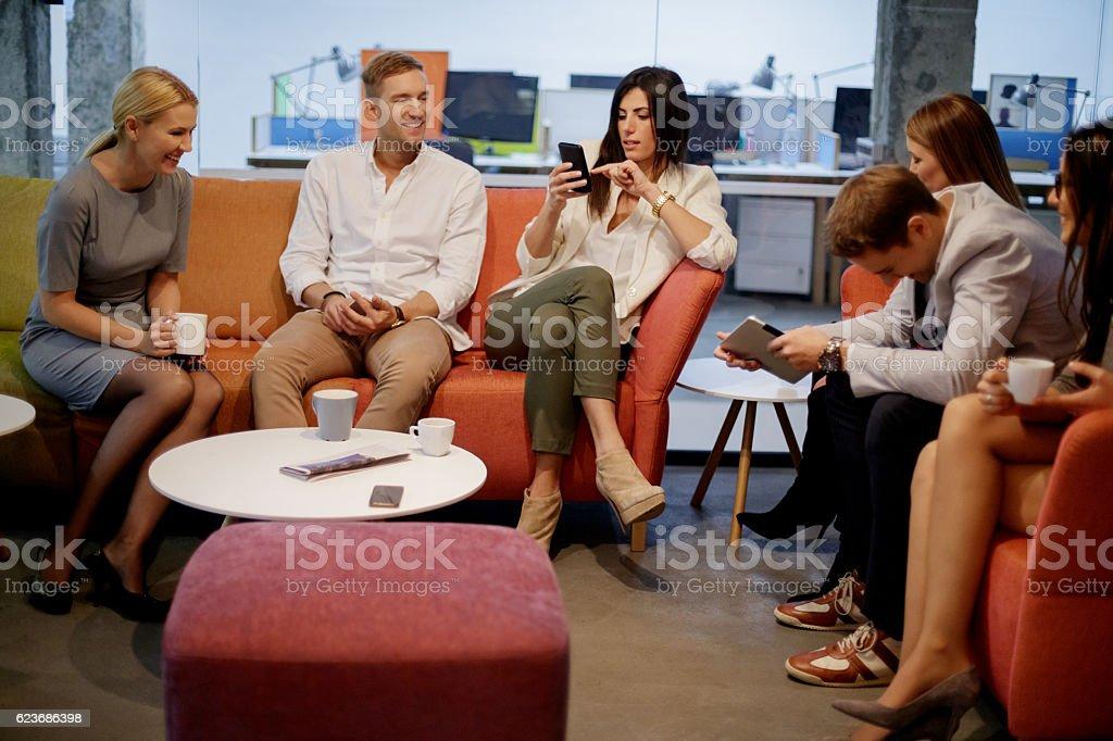 Socializing on a coffee break stock photo