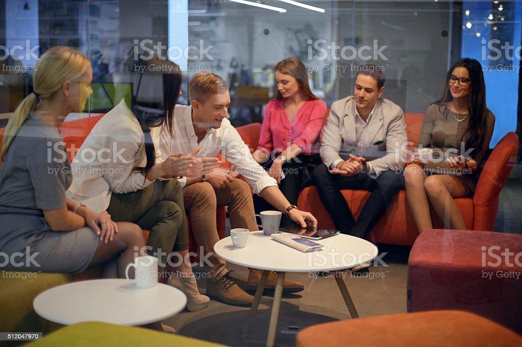 Socializing on coffee break stock photo
