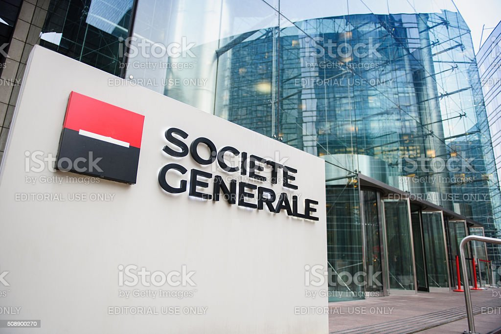 Societe Generale Headquarter entrance in La Defense stock photo