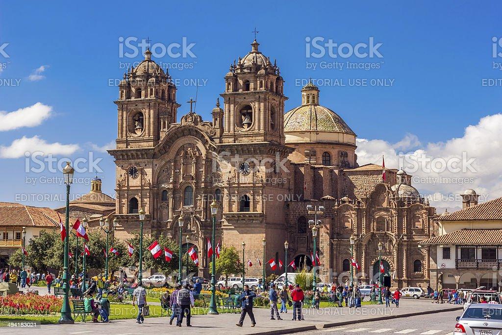 Society of Jesus church Plaza de Armas Cuzco Peru stock photo