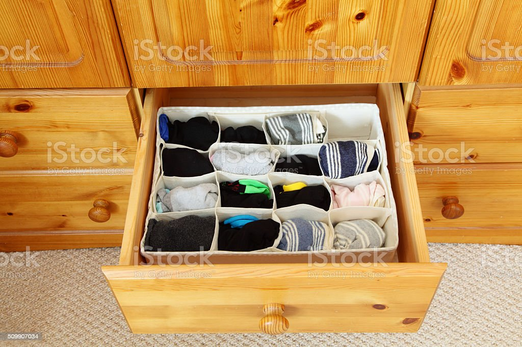 sock organiser for drawers stock photo