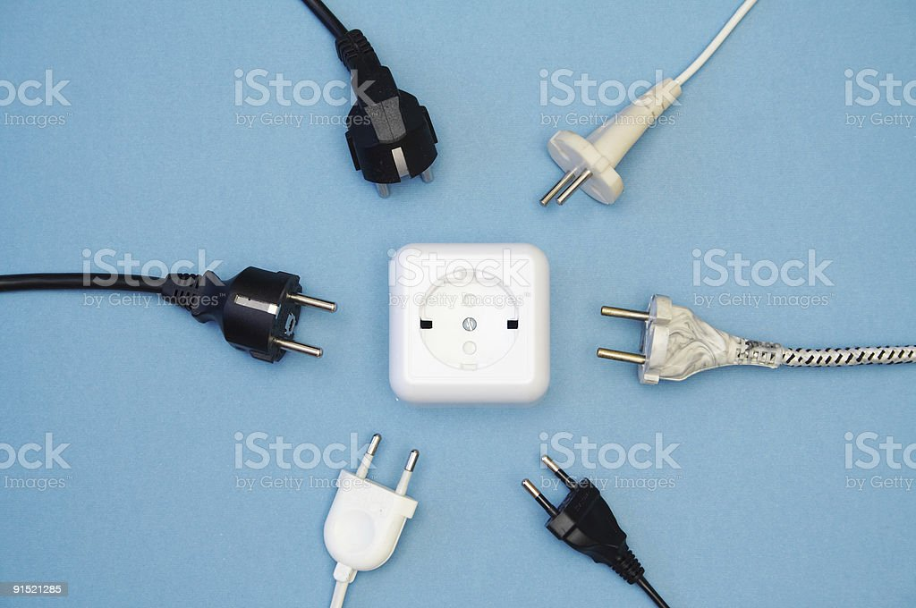 Socket and plugs royalty-free stock photo