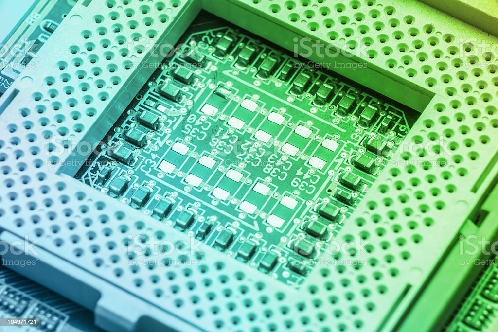 CPU socket on a computer motherboard stock photo