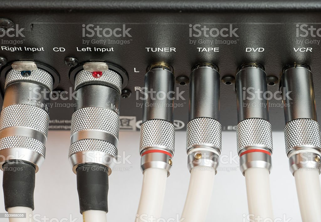 Sockets and plugs of inputs and outputs on metal panel. stock photo