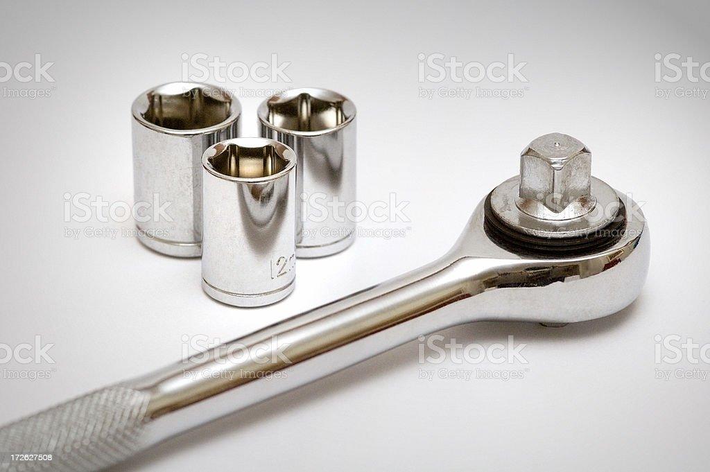 Sockets and socket wrench royalty-free stock photo
