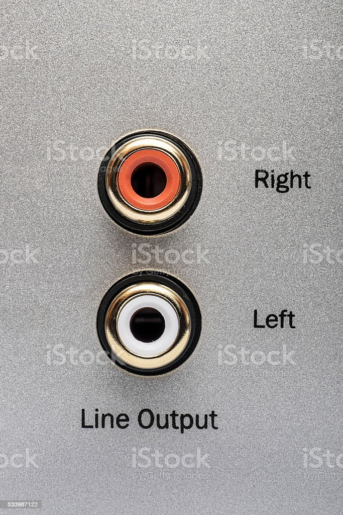 Sockets of the line output on an aluminum panel. stock photo