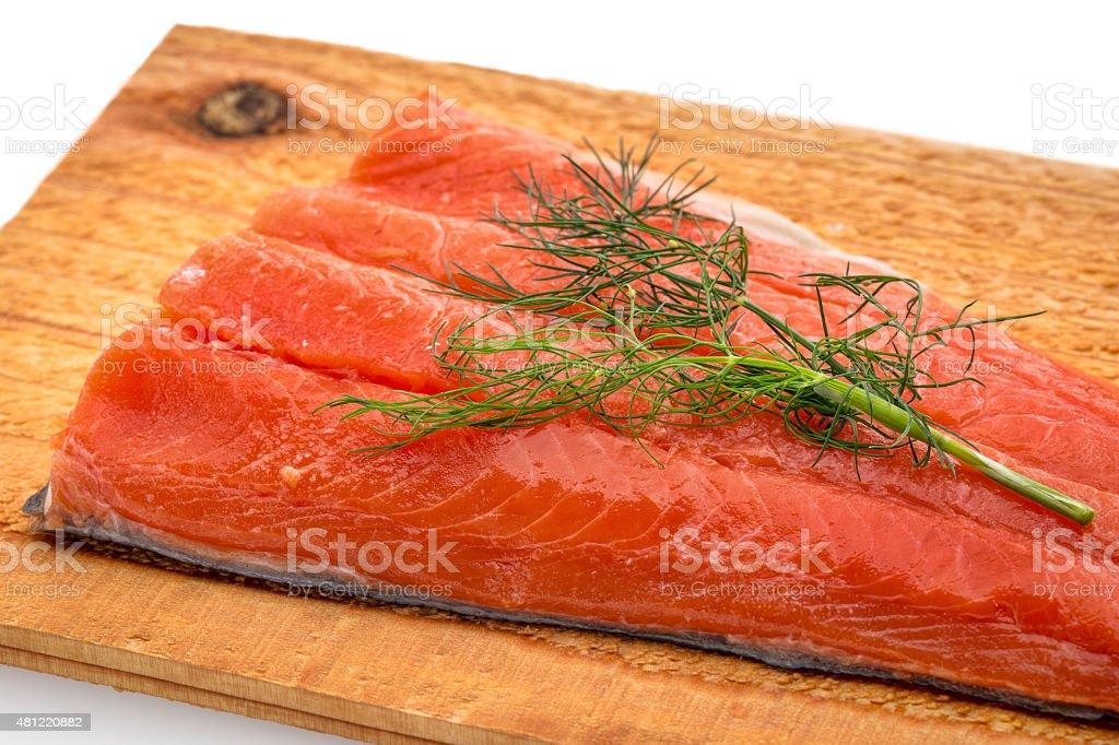 sockeye salmon ready for grilling stock photo