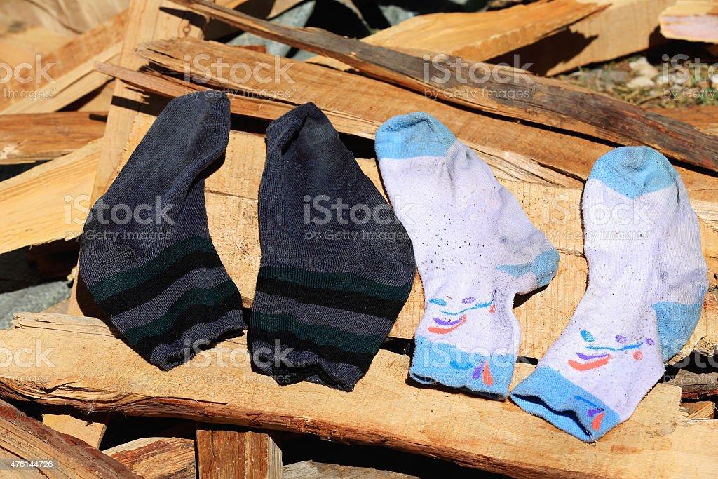 Socks drying in the sun. Drak Yerpa monastery-Tibet. 1479 stock photo