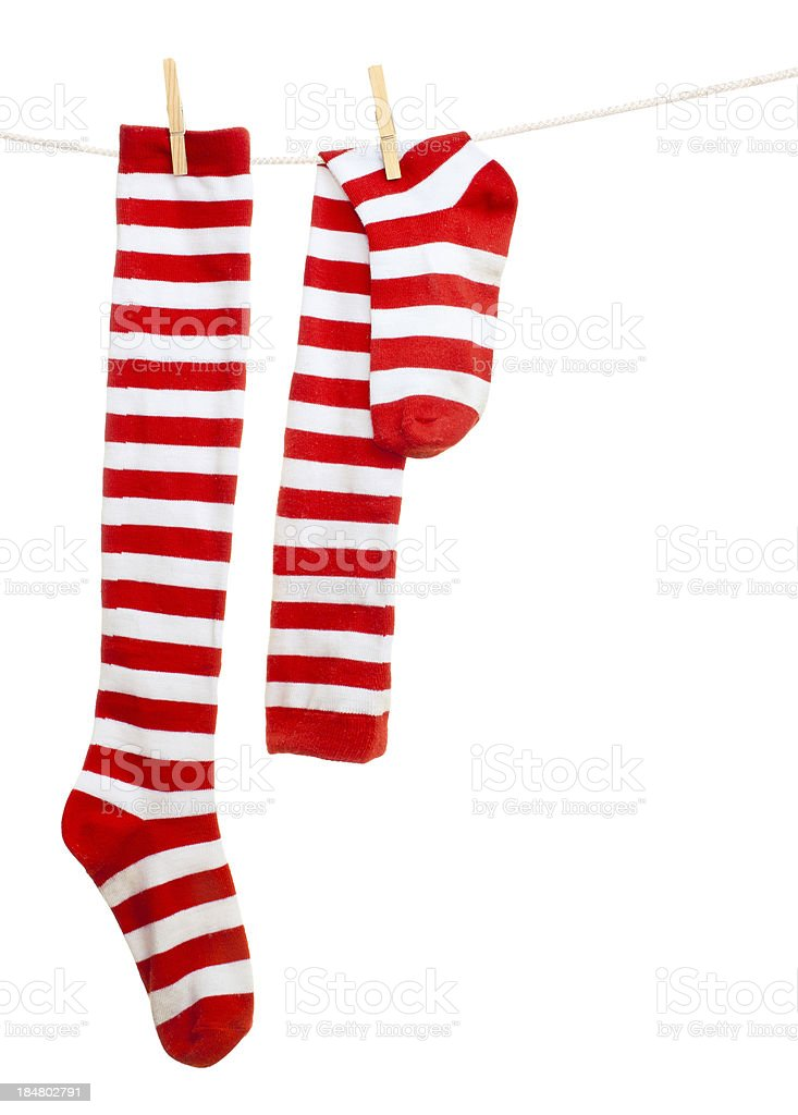 socks hanging on a rope stock photo