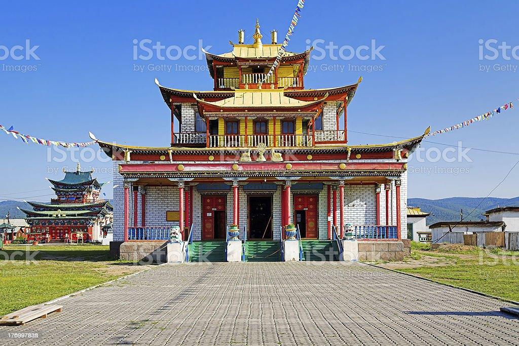 Sockshin-dugan - main temple of the Ivolginsky Datsan, Buryatia stock photo