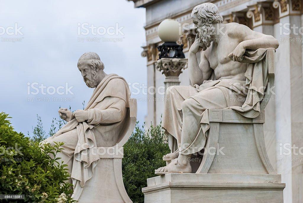 Socrates and Plato statues stock photo