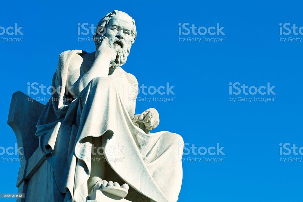 Socrates statue, instagram look stock photo