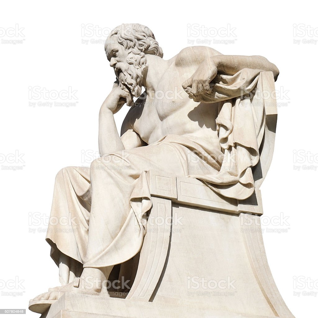 Socrates Statue on Panepistimiou Street Outside the Academy of Athens stock photo