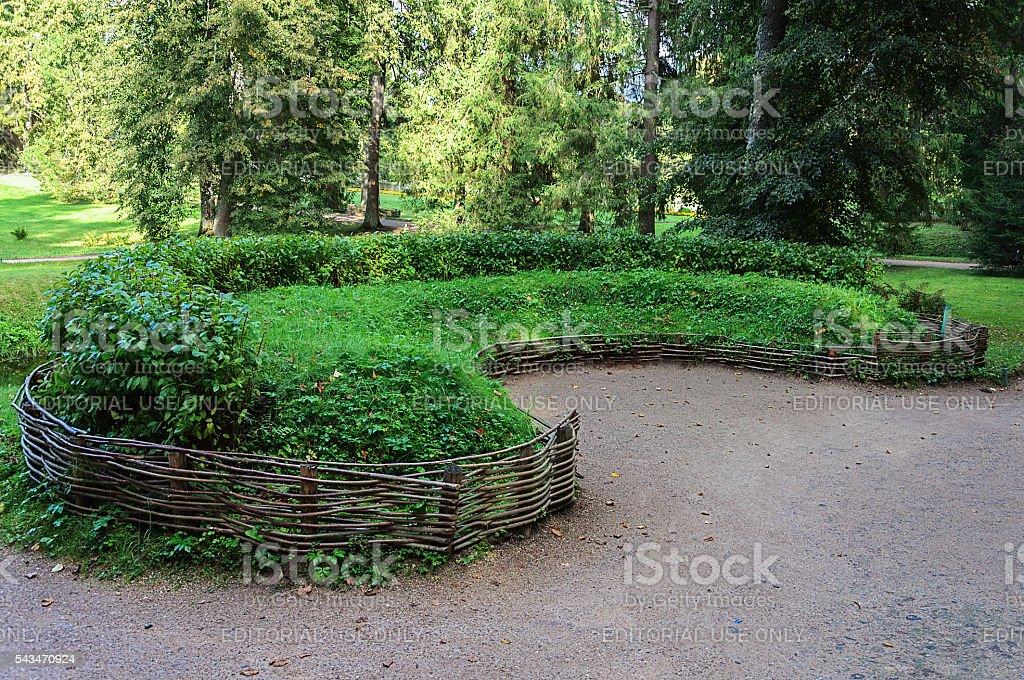 Sod sofa in the village park Mikhailovskoe stock photo