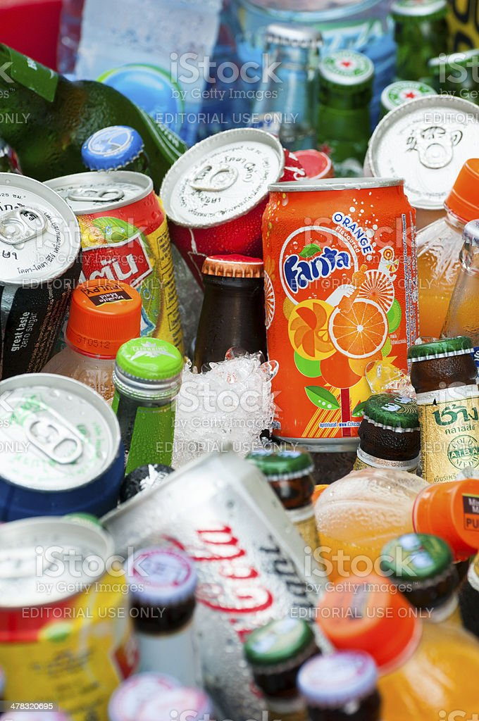 Soda and beer on ice in Bangkok, Thailand stock photo