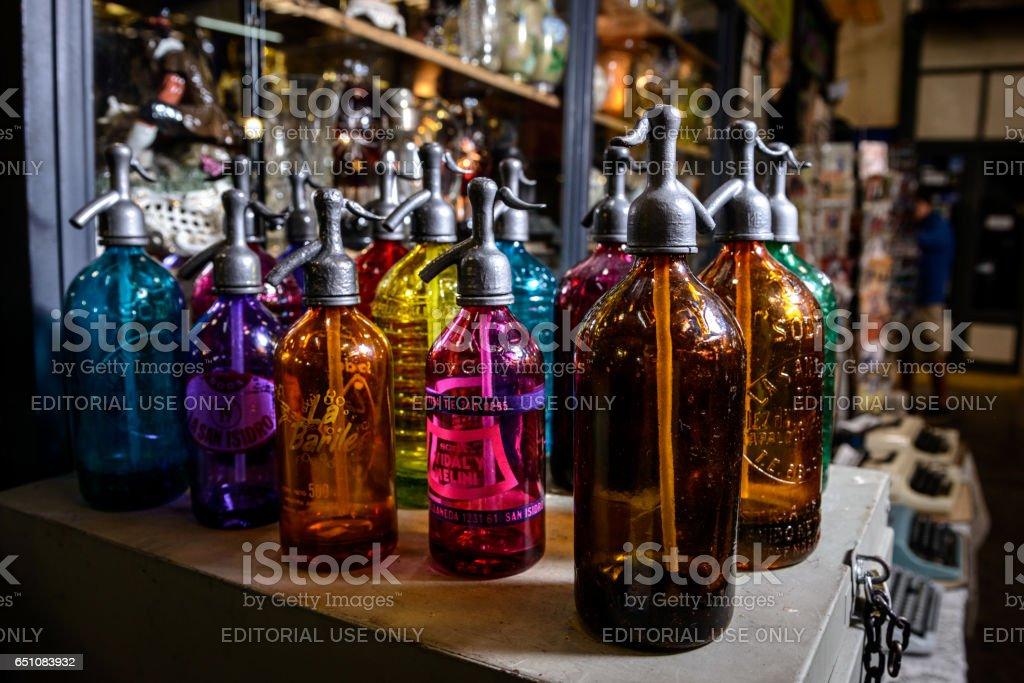 Soda Bootles, San Telmo Market, Buenos Aires, Argentina stock photo
