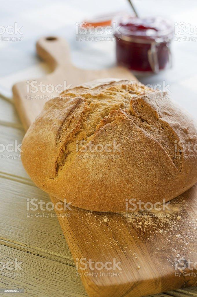 Soda Bread Cob and Jam royalty-free stock photo