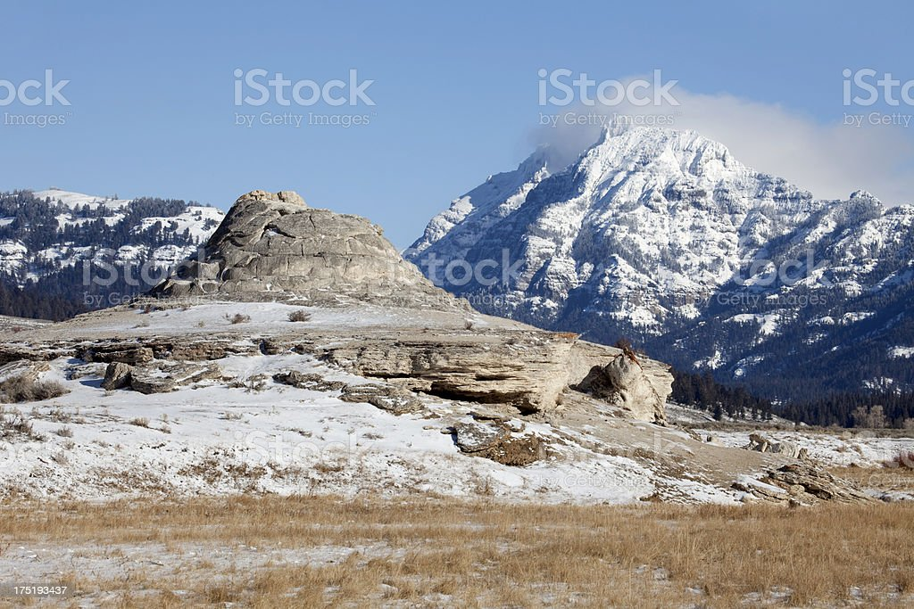 Soda Butte and Abiathar Peak Yellowstone NP stock photo