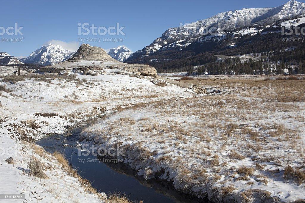 Soda Butte and Absoroka mountains Yellowstone NP royalty-free stock photo