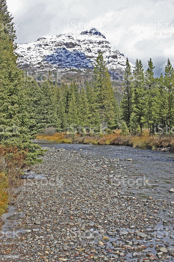 Soda Butte Creek with mountain background stock photo
